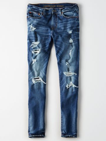 ג'ינס סקיני עם הלבנה וקרעים Skinny / גברים
