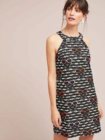 שמלת מיני קולר בהדפס משקפי שמש עם מיני פרנזים