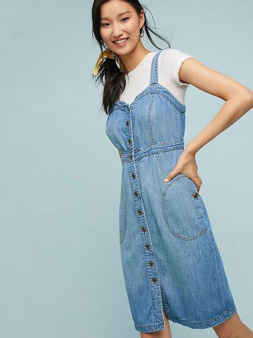 שמלת ג'ינס מידי מחוך עם רכיסת כפתורים