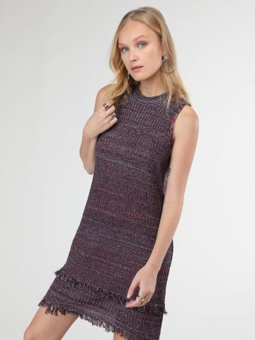 שמלת מיני סרוגה עם סיומת פרומה