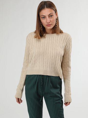 סוודר קרופ בטקסטורת צמות