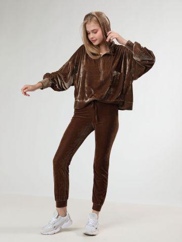 מכנסי טרנינג קטיפה עם כיסים - חלק מחליפה