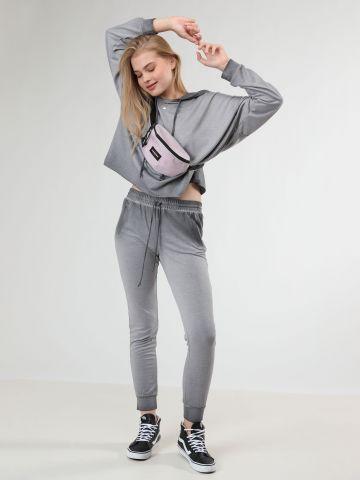 מכנסי טרנינג ארוכים בסגנון ווש - חלק מחליפה