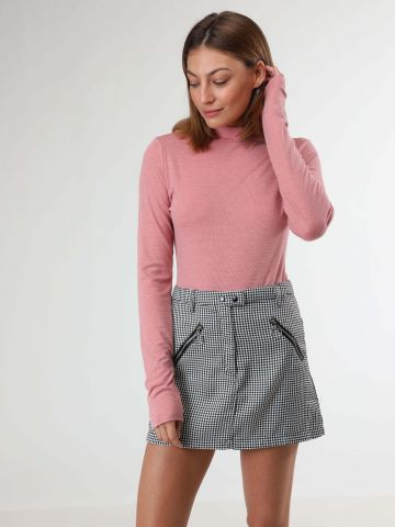 חצאית מיני בהדפס פפיטה עם רוכסנים של TERMINAL X