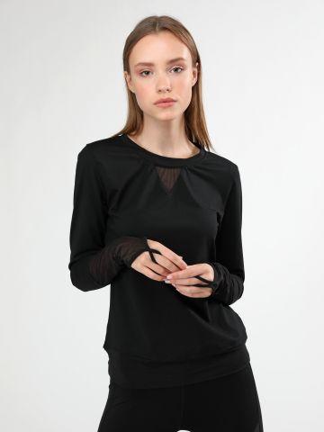 חולצת אקטיב בשילוב רשת עם שרוולים ארוכים