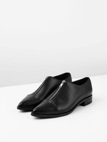 נעלי אוקספורד דמוי עור עם רוכסן קדמי