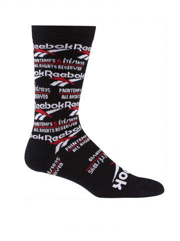 גרביים גבוהים בהדפס מולטי לוגו / יוניסקס