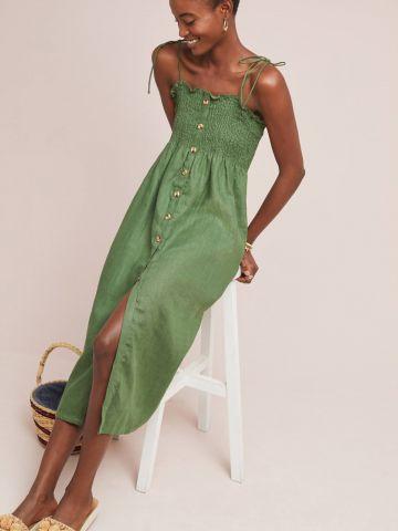 שמלת פשתן מידי עם כפתורים בחזית Faithfull