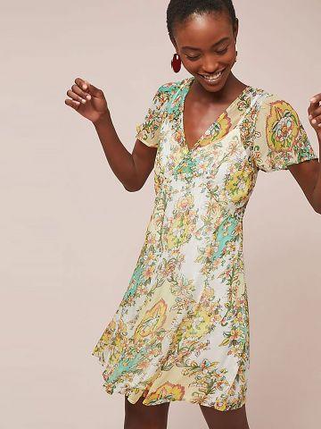 שמלת מיני מעטפת בהדפס פסים עם חוטי לורקס