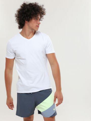 מכנסי בגד ים רשת עם פאנלים קולור בלוק לוגו