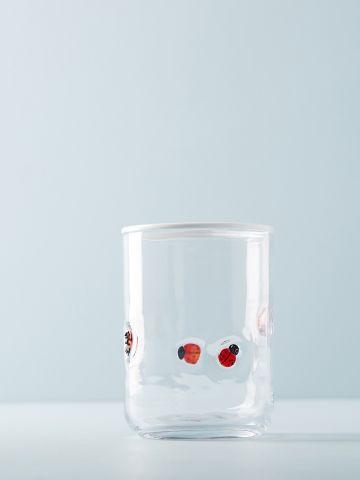 כוס זכוכית לשתייה קרה עם עיטורי חיפושיות