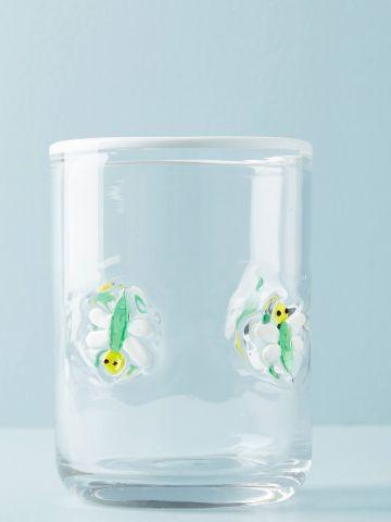 כוס זכוכית לשתייה קרה עם עיטורי שפיריות