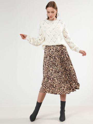 חצאית סאטן פליסה בהדפס מנומר