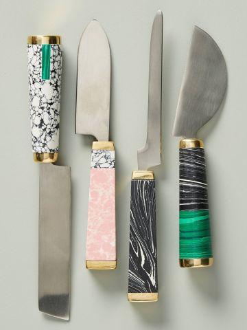 סט 4 סכיני גבינה עם ידיות מארבל מולטי קולור