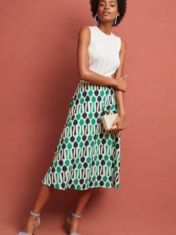 חצאית מידי בהדפס כפיות עם שכבת בד עליונה