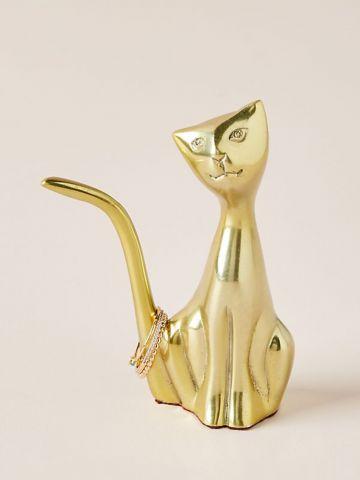 פסלון חתול בגימור מוזהב