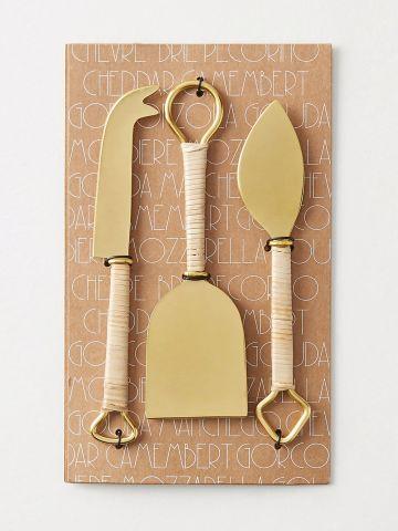 סט 3 סכינים לחיתוך גבינה עם ידיות ראטן