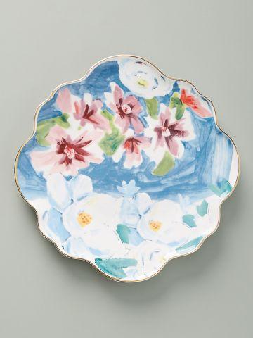 צלחת חרס עם עיטורי פרחים ושוליים מוזהבים Anais / קינוח