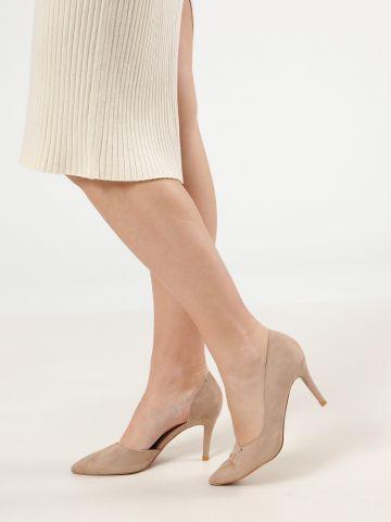 נעלי עקב סטילטו זמש עם פתח בצד של TERMINAL X