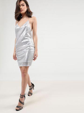 שמלת מיני פאייטים עם כתפיות שרשרת דקות