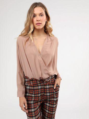 חולצת שיפון שקופה בסגנון מעטפת