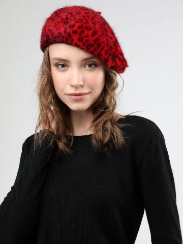כובע בארט פרוותי בהדפס מנומר / נשים