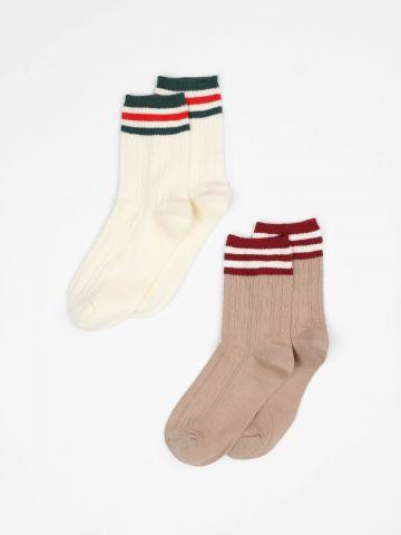 מארז 2 זוגות גרביים בדוגמת פסים / נשים