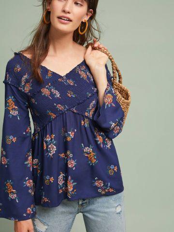 חולצת אוף שולדרס בהדפס פרחים