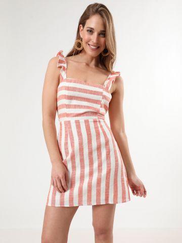 שמלת פסים מיני עם כתפיות מלמלה