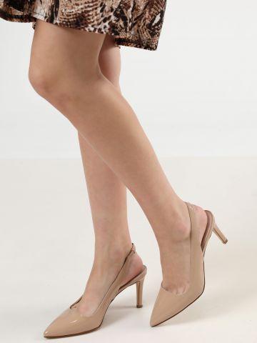 נעלי עקב סטילטו עור לכה עם רצועת קרסול