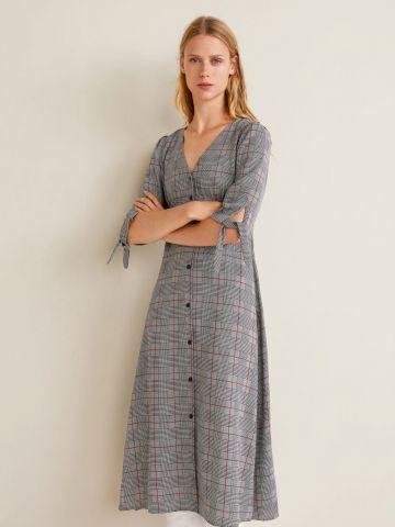 שמלת מידי בהדפס משבצות עם רכיסת כפתורים