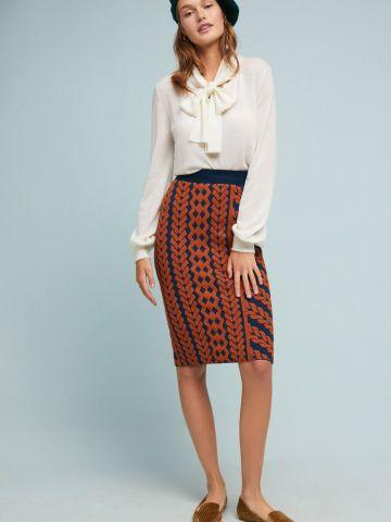 חצאית עיפרון מידי בהדפס גיאומטרי Maeve