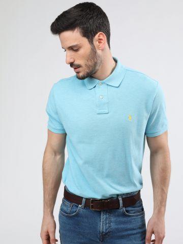 חולצת פולו אסימטרית עם רקמת לוגו Slim Fit