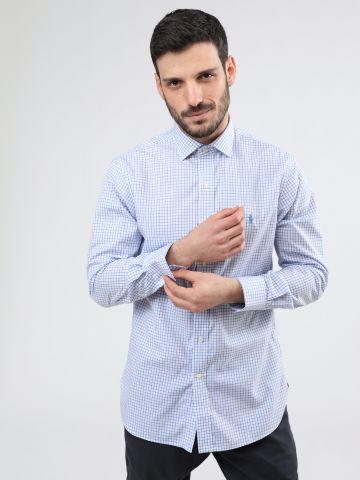 חולצה מכופתרת בהדפס משבצות Slim Fit