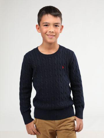 סוודר צמר צמות עם רקמת לוגו / בנים