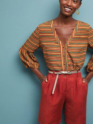חולצת פסים מכופתרת עם קשירה ושרוולים נפוחים