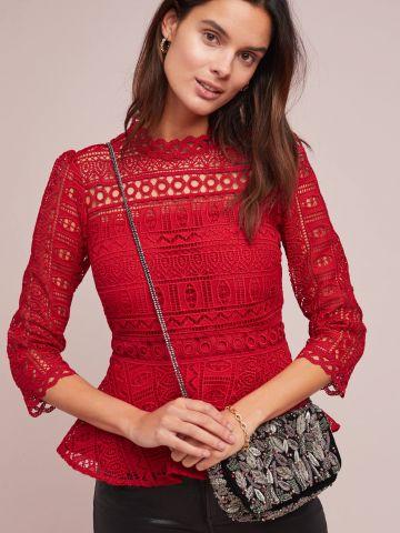 חולצת תחרה גיאומטרית עם סיומת פפלום Moulinette Soeurs