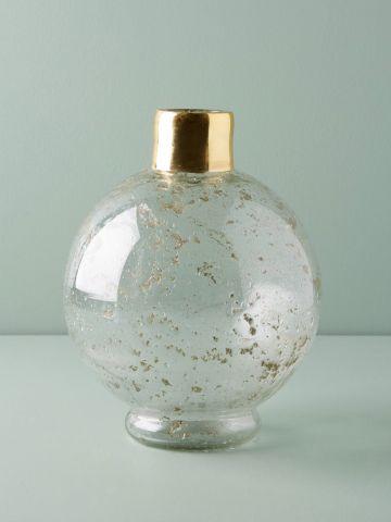אגרטל זכוכית עגול עם צוואר מוזהב / בינוני