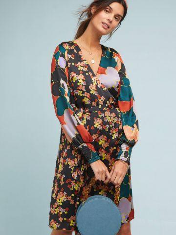שמלת מידי מעטפת בהדפס פרחים