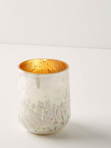 נר ריחני בכוס זכוכית עם אפקט מטאלי Fir & Firewood