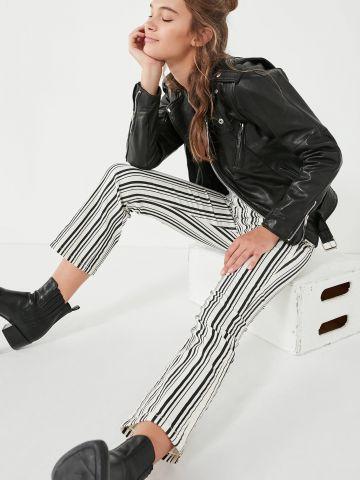 ג'ינס בהדפס פסים עם סיומת מתרחבת BDG