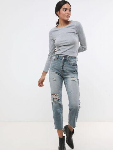 ג'ינס Slim ישר בשטיפה בהירה עם קרעים BDG