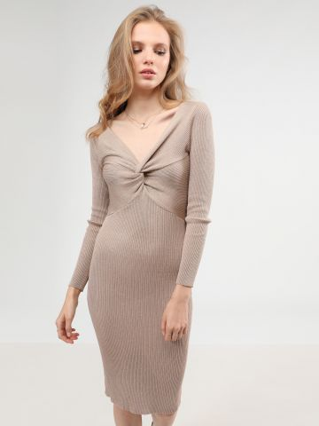 שמלת מידי לורקס עם טוויסט בחזית