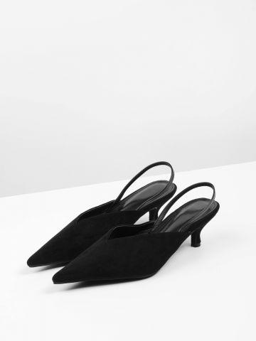 נעלי עקב שפיץ דמוי זמש