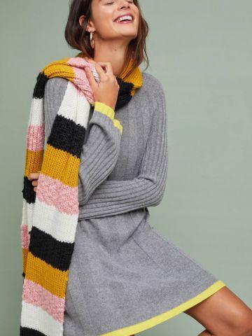שמלת סוודר ריב מיני עם שוליים מודגשים