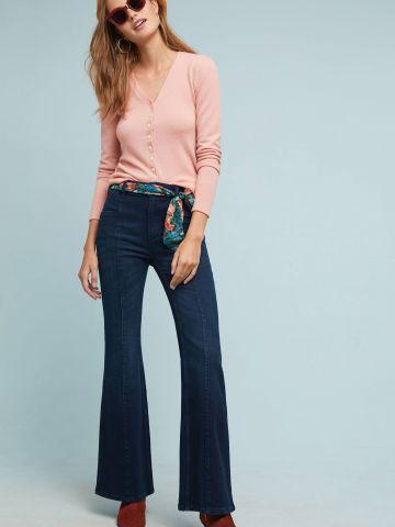 ג'ינס בגזרה גבוהה עם חגורת צעיף פרחים Pilcro and the Letterpress