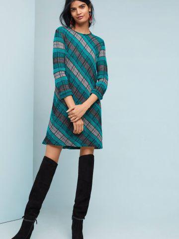 שמלת מיני סוודר צמר בהדפס משבצות Aldomartins
