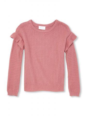 סוודר עם עיטורי מלמלה בשרוולים / בנות