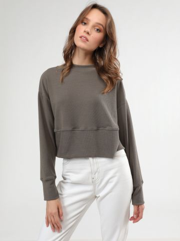 חולצת ריב קרופ עם תיפור מודגש