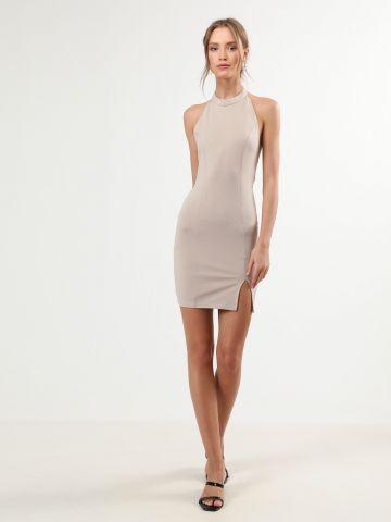 שמלת קולר מיני עם שסע